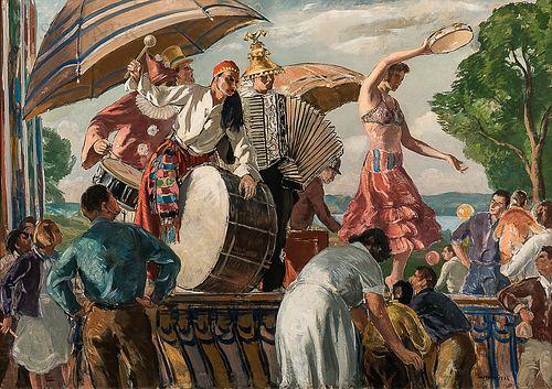 Gifford Beal (American, 1875-1956) Mountebanks