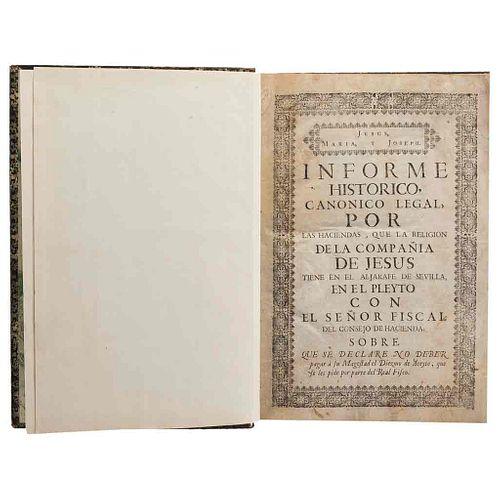 Informe Histórico/...En Satisfacción de un Libro de el Visitador Juan de Palafox. Madrid/Puebla, ca. 1755/ca. 1760. Dos obras en 1 vol.