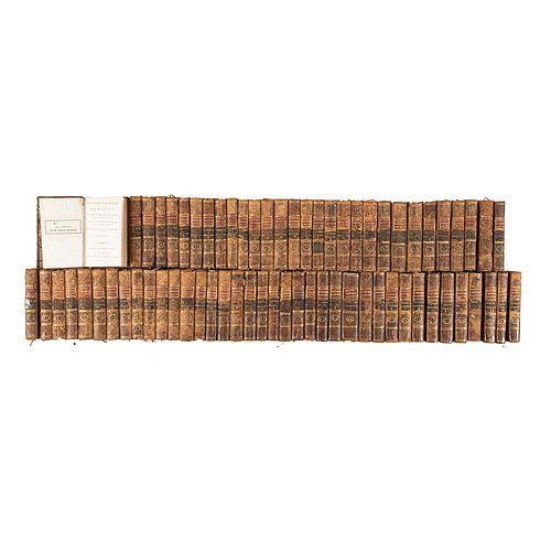 Conde de Buffon. Histoire Naturelle. Paris: Deterville, an VII - XI (1798 - 1803). Tomos 11 - 80.Total de piezas: 68.Láminas coloreadas