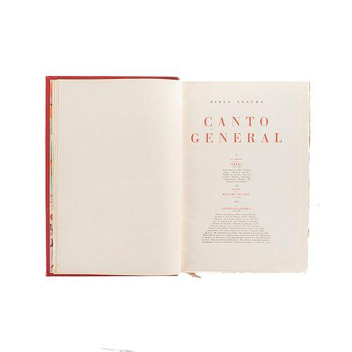Neruda, Pablo. Canto General. México, 1950. 1a. edición. Guarda anterior por Diego Rivera, posterior por Siqueiros. Ed. de 600 ejem.