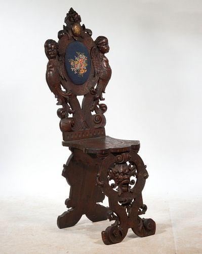HEAVILY CARVED VICTORIAN SIDE CHAIR