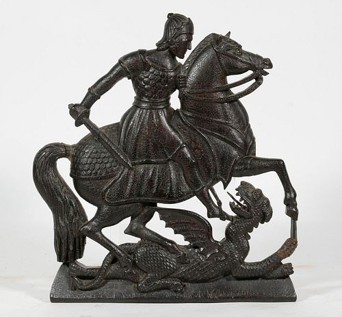 18TH C. CARVED WOOD PLAQUE OF ST. GEORGE DEFEATING THE DRAGON
