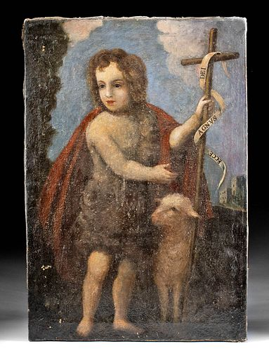 18th C. European Painting - St. John the Baptist & Lamb