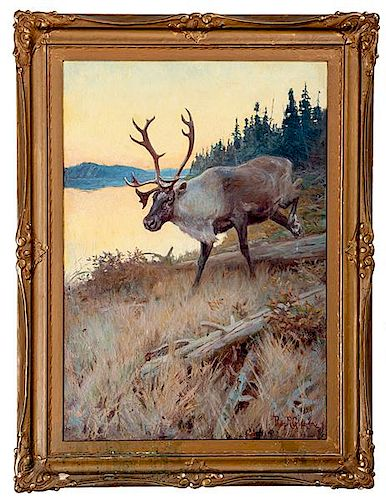 Important Philip Goodwin Caribou Painting, Illustrated for Peter's Big Game Ammunition Poster