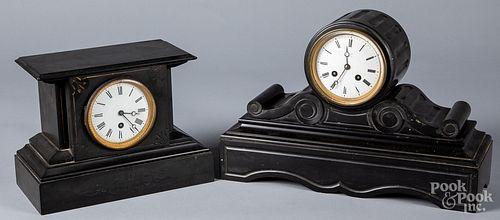 Two Victorian slate mantel clocks
