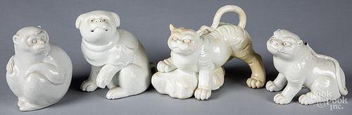 Four Japanese Hirado porcelain animals