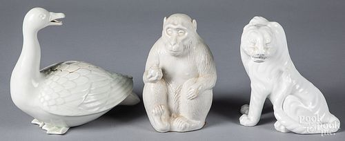 Three Japanese Hirado porcelain animals