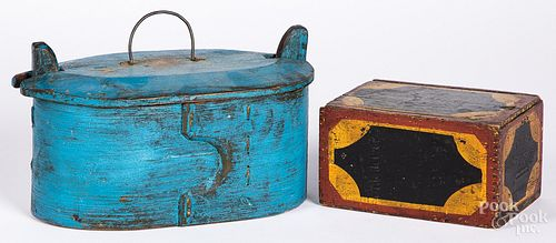 Two painted pine boxes, 19th c.