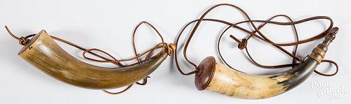 Two antique powder horns