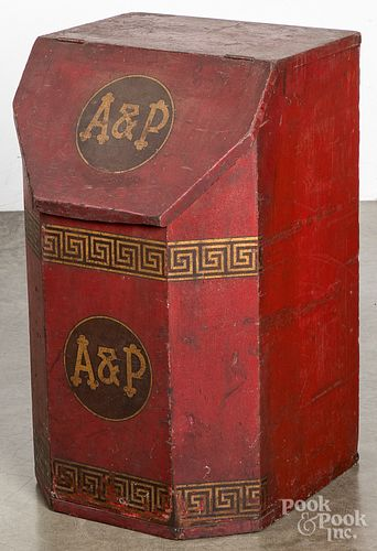 Painted pine tea bin, 19th c.