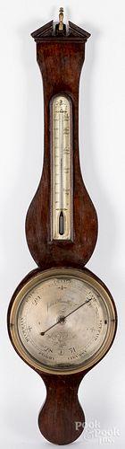 English mahogany banjo barometer, 19th c.