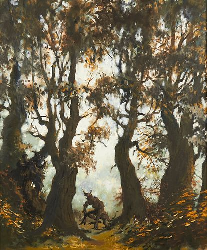 """William Dietrichson """"Untitled [beast crouching in forest path]"""" Oil on Canvas"""