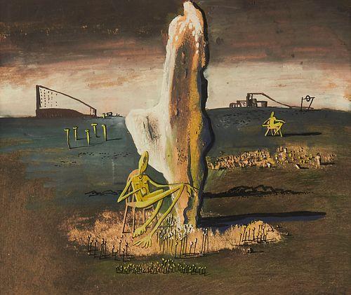 """Arthur Kerrick """"Untitled [surreal landscape with monolith]"""" Gouache 1946"""