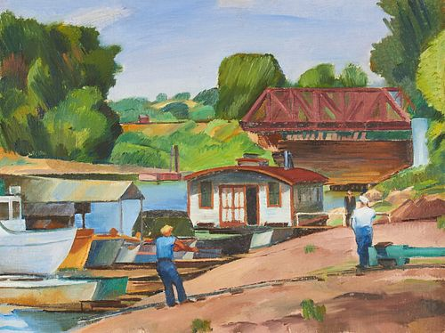 """Emile Hastings """"Boat Livery & Live Bait"""" Oil on Canvas"""