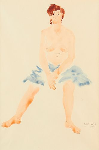 """Alonzo Hauser """"Untitled [seated nude female with blue towel] Watercolor and Graphite Drawing 1965"""