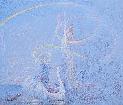"""Paul Cadmus """"Swan of Catania"""" Sketch"""