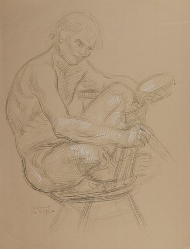 Paul Cadmus Male Nude on Chair Crayon on Paper