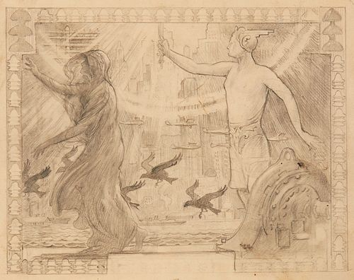 "Edward Brewer ""Light Dispelling Darkness"" Graphite Sketch"