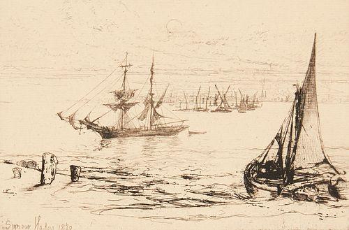"Francis Seymour Haden ""A Brig at Anchor"" Etching 1870"
