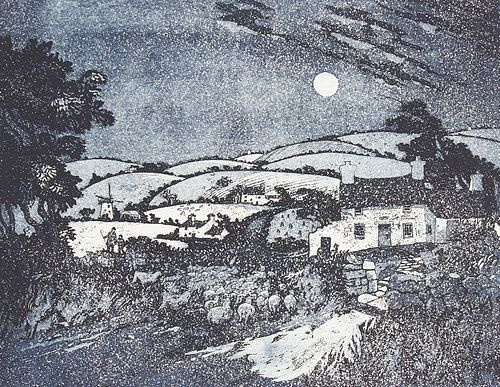 """Keith Andrew """"Anglesey Shepherd"""" Lithograph 1977"""