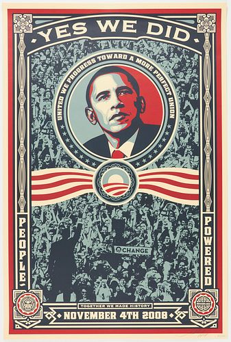 """Shepard Fairey Obey """"Obama Yes We Did"""" Print"""