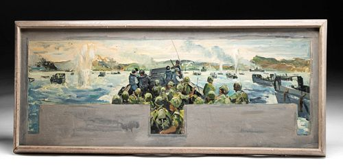 Signed W. Draper Painting WWII Combat, 1943