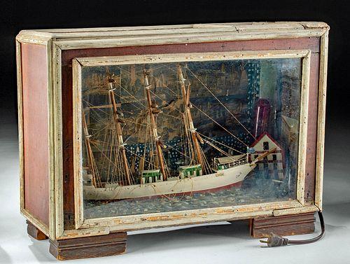 Antique Wood & Paper Model Ship Diorama w/ Light