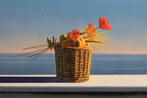 DAVID LIGARE, Still Life with Apricots, Wheat, and Poppies