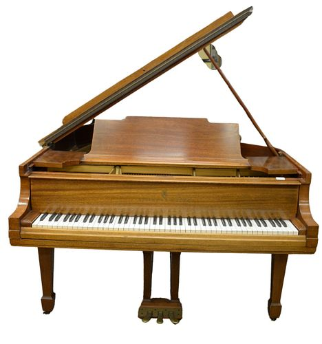 Steinway and Sons Mahogany Baby Grand Piano, marked Duplex Scale, serial #265459, width 56 inches, length 76 inches.
