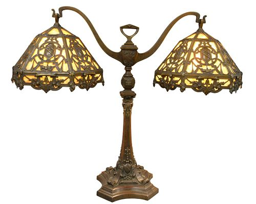 Large Duffner and Kimberly Bronze Double Student Lamp, having caramel slag glass six panel shades with bronze shield decoration, height 34 inches, wid