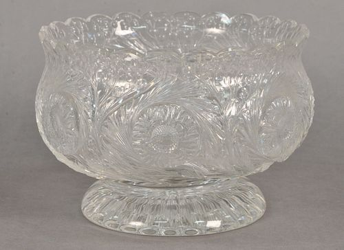 Thomas Webb Engraved Rock Crystal Style Footed Bowl, having seven engraved flowers amongst spiral flutes, resting on round engraved base, height 6 1/2