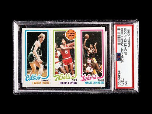 A 1980 Topps Larry Bird / Julius Erving / Magic Johnson Rookie Basketball Card, PSA 7 NM.