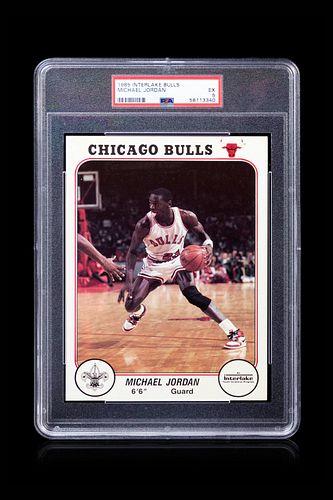 A 1985 Interlake Boy Scout Michael Jordan Rookie Basketball Card PSA 5,