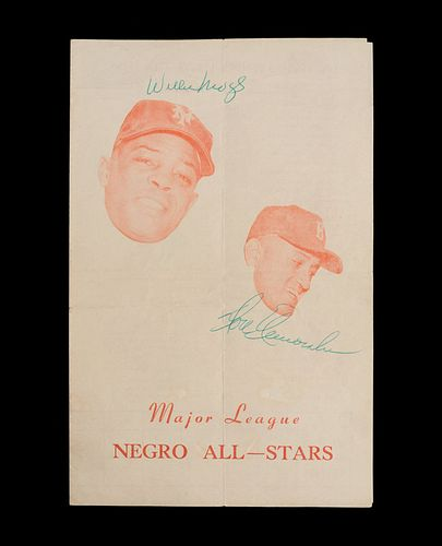 An Important 1955 Negro Baseball All Stars Barnstorming Tour Signed Program (Including Mays, Aaron, Banks and Doby)