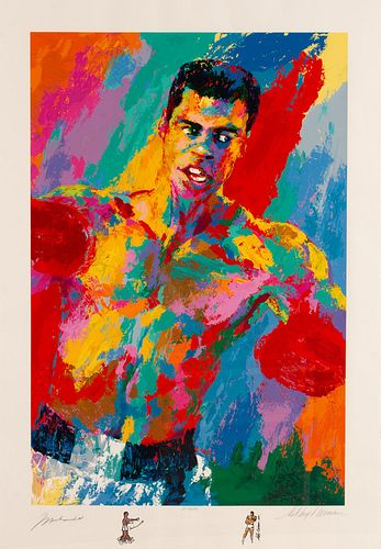 """A 2001 Muhammad Ali """"Athlete of the Century"""" LeRoy Neiman Artist's Proof Serigraph with Remarques and Autographs of Both, 41 1/2 x 28 inches."""