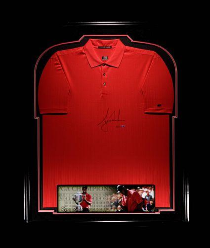 A Tiger Woods Signed 2006 PGA Championship Tiger Red Shirt  Limited Edition Display, Upper Deck Authenticated,