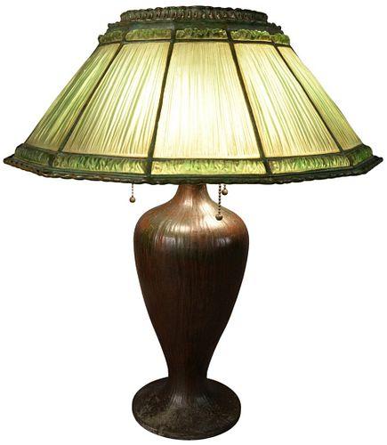 Tiffany Studios Bronze and Green Glass Linenfold Lamp having 12 sided shade, on bronze Tiffany base, shade stamped 'Tiffany Studios, New York, 1927, P