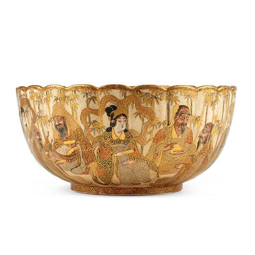 Large Japanese Meiji Satsuma Bowl