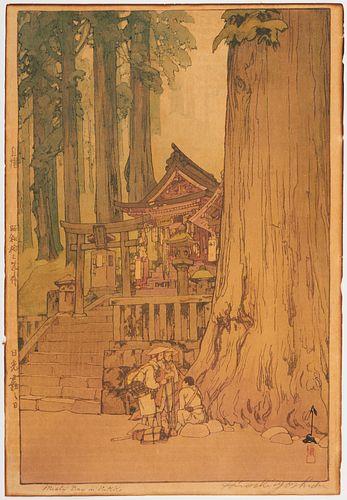 """Hiroshi Yoshida """"Misty Day in Nikko"""" Woodblock Print"""