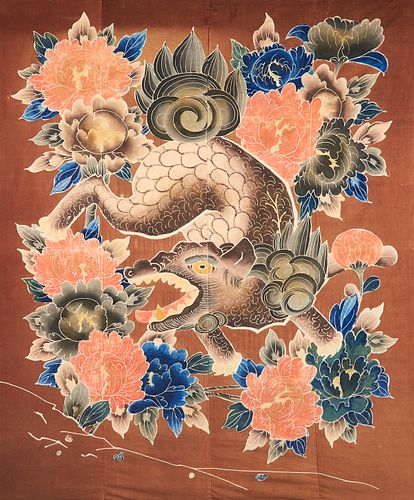 19th c. Japanese Futon-Gawa Rice Paper Resist on Cotton