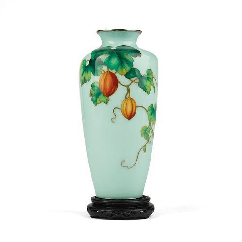 Ando Japanese Melons Cloisonne Vase - Marked