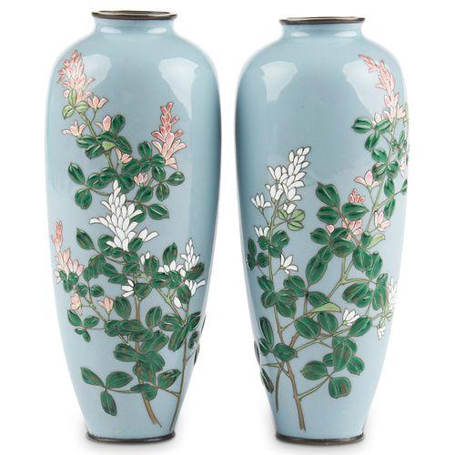 Pair of Moriage Japanese Cloisonne Enamel Vases