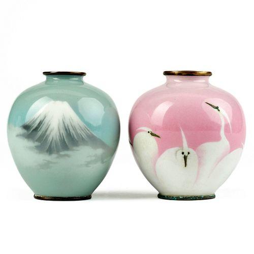 Pair of Japanese Meiji Cloisonne Enamel Vases - Marked
