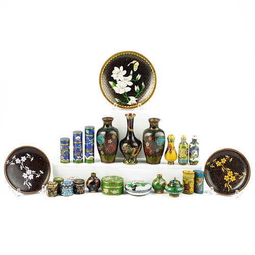 Lrg Grp: 24 Small Japanese & Chinese Cloisonne Objects