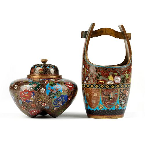 Japanese Cloisonne Goldstone Covered Jar & Vase