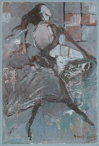 Yang Yang Woman in Blue Oil on Canvas