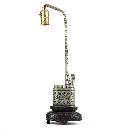 Chinese Paktong Enameled Pipe Lamp