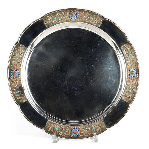 Republic Chinese Silver & Enamel Scalloped Platter