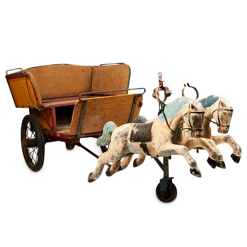 Carnival Carousel Ride Wooden Horse Drawn Carriage