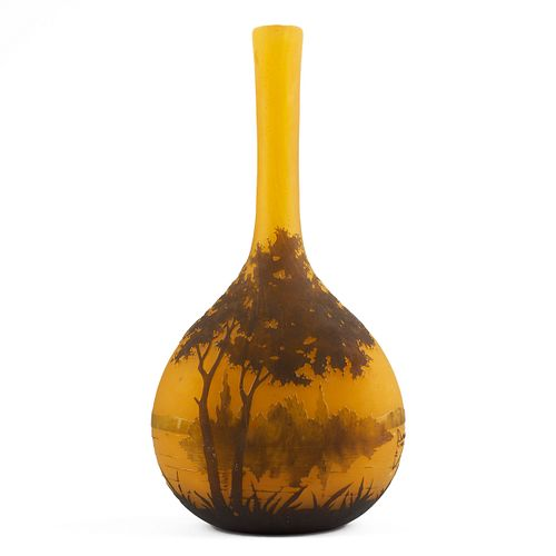 Daum Nancy Long Neck Cameo Glass Vase